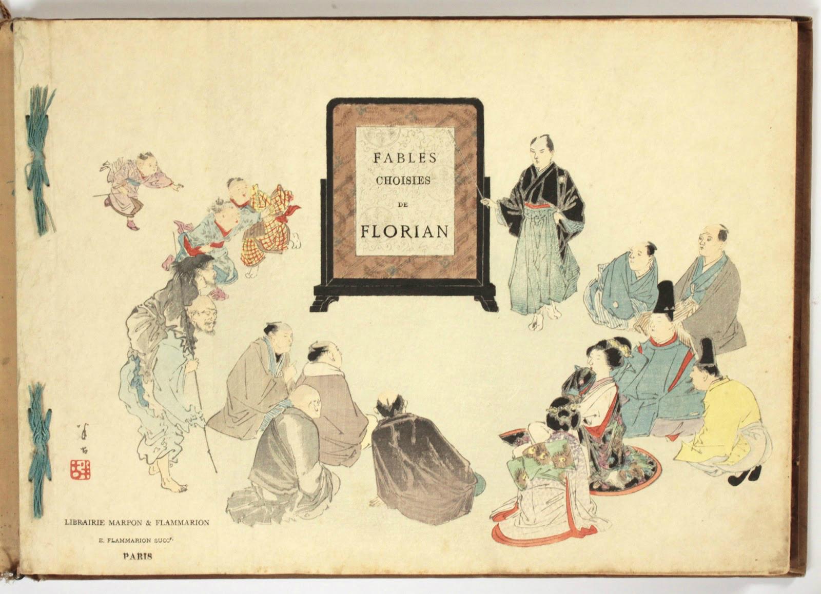 Feuillets fac-similés de quelques Fables choisies de J.-P. Claris de Florian, illustrées par des artistes japonais sous la direction de P. Barboutau. Première série. Deuxième série.
